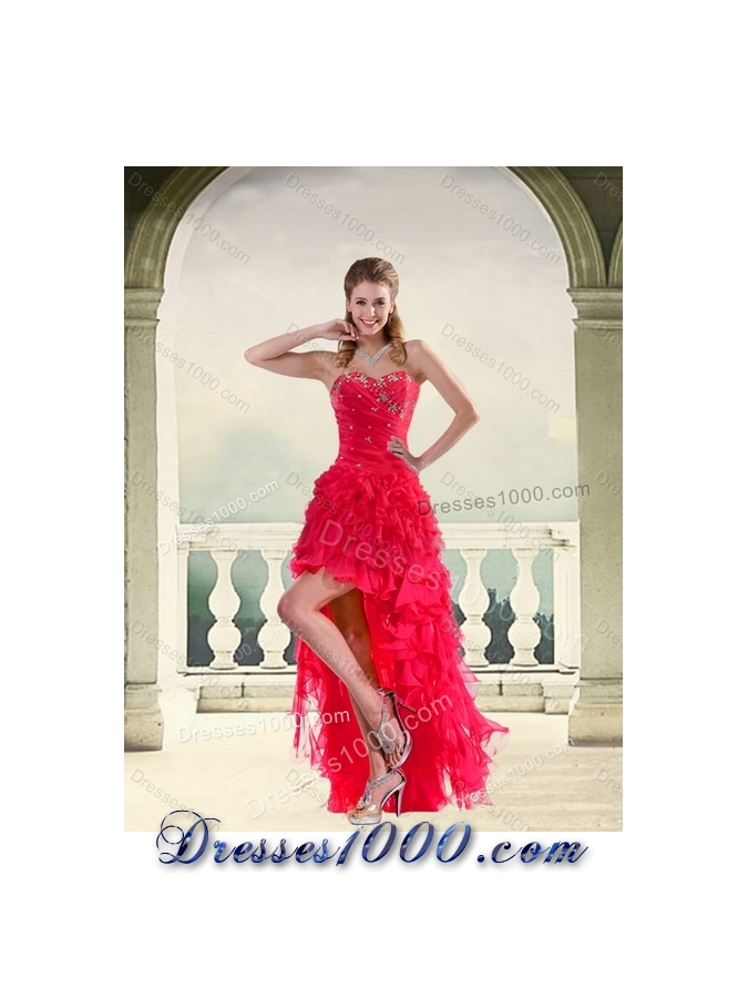 Detachable Red Strapless Quinceanera Dress with Ruffles and Beading