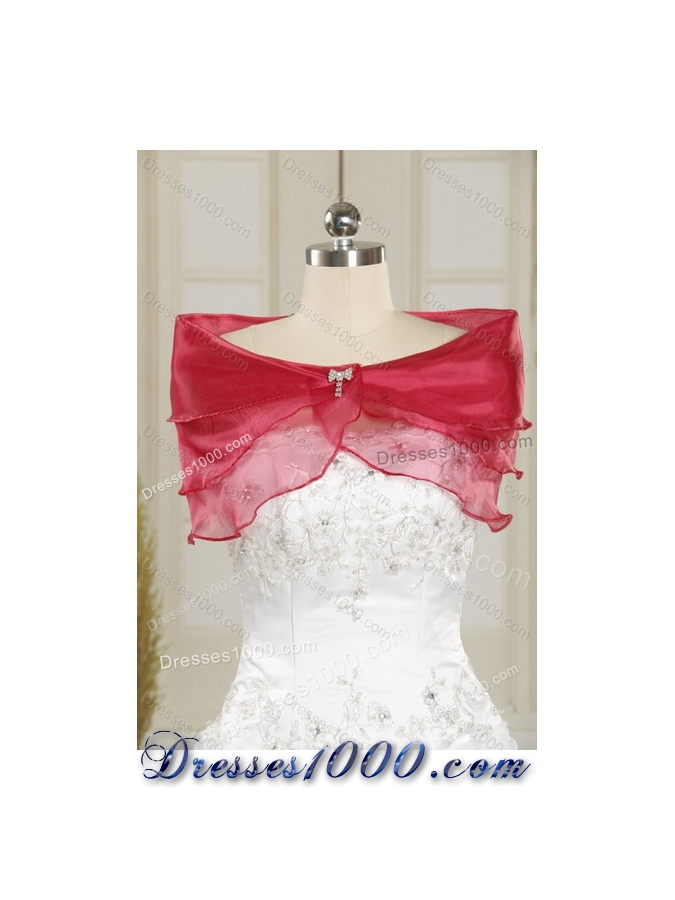 Detachable Wine Red Strapless Quinceanera Gown with Embroidery and Pick Ups