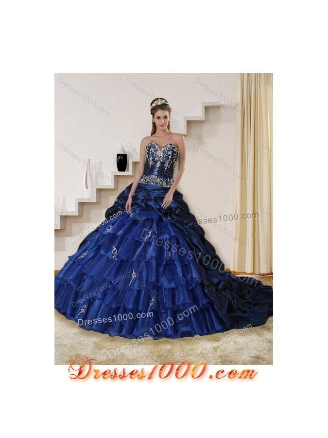 2015 Detachable Embroidery and Beaded Strapless Quinceanera Dress in Navy Blue