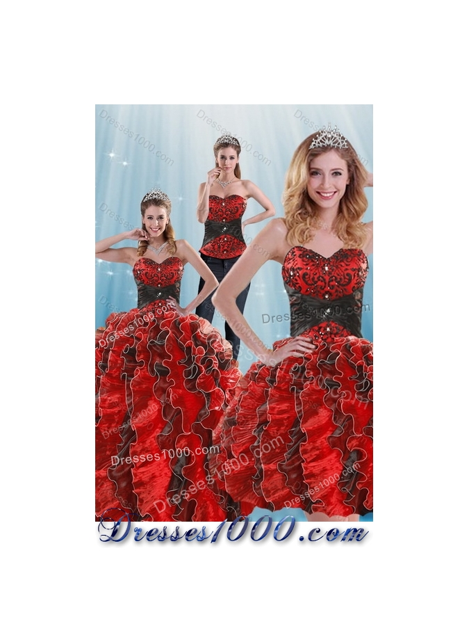 2015 Fashionable Beading and Ruffles Multi Color Dresses for Quince