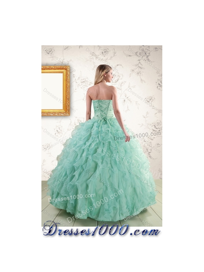 2015 Fashionable Spring Strapless Quinceanera Dresses with Appliques and Ruffles
