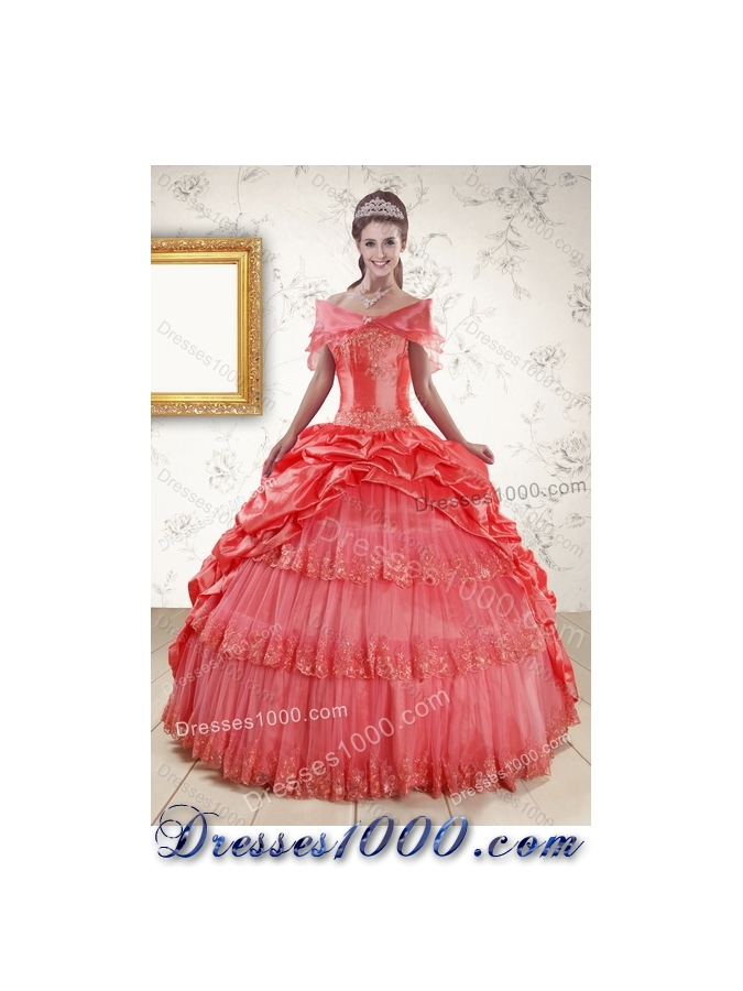 2015 Fashionable Strapless Coral Red Quinceanera Dresses with Pick Ups and Beading