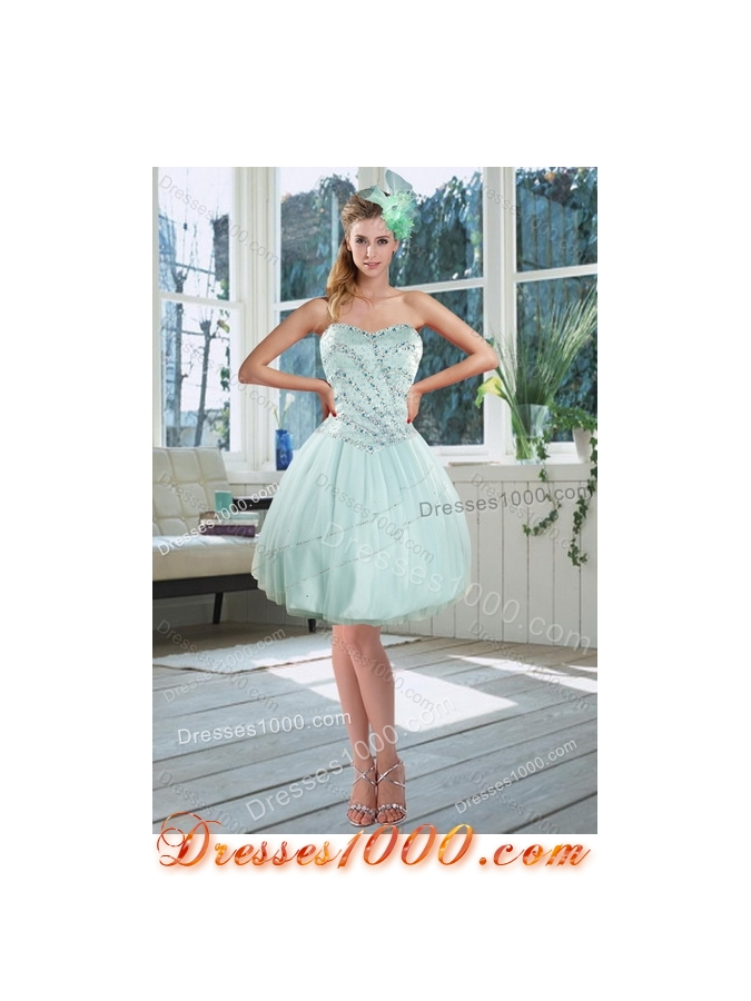 Detachable Apple Green Strapless 2015 Quinceanera Dresses with Beading