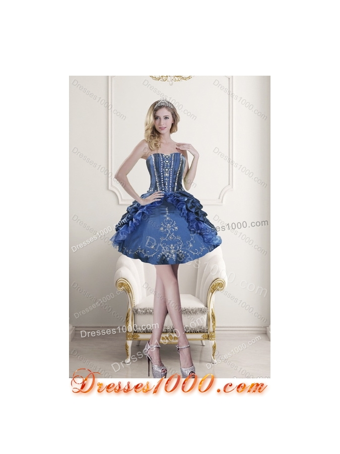 Detachable Embroidery and Beading Blue Quince Dresses for 2015