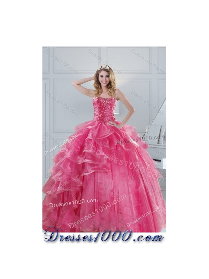 Detachable Pink Quinceanera Dresses with Beading and Ruffles for 2015