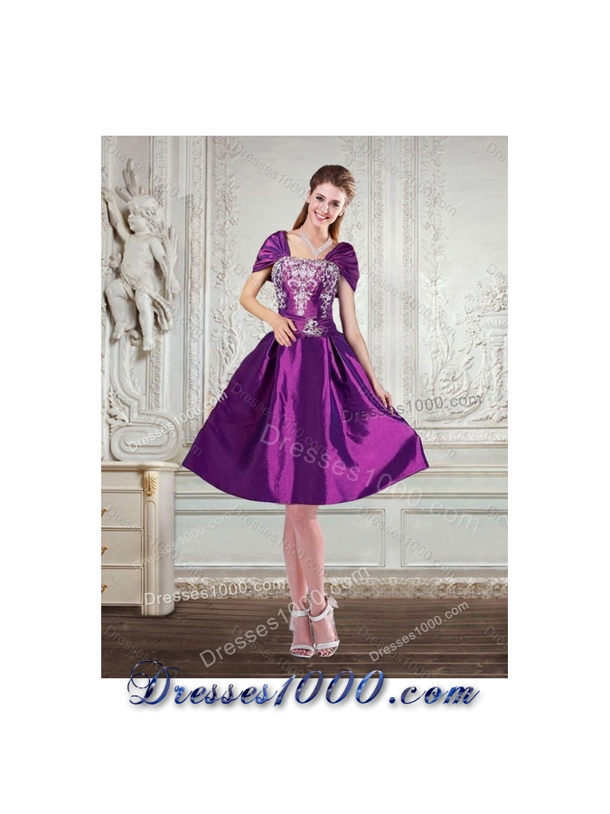 Fashionable High Low Embroidery Prom Gown for 2015