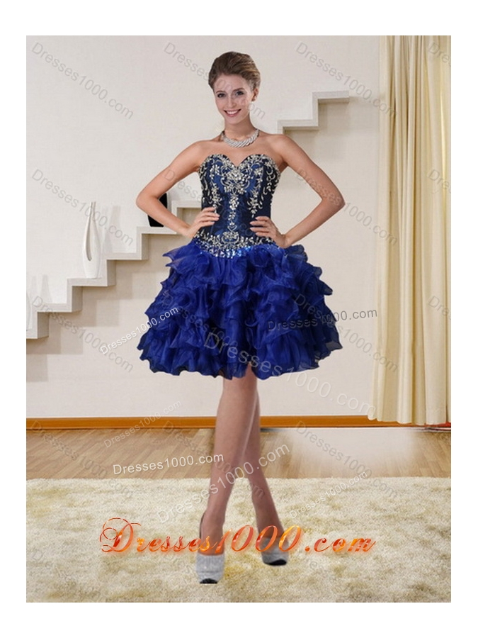 New Style Navy Blue Sweetheart Quinceanera Dress with Ruffles and Embroidery