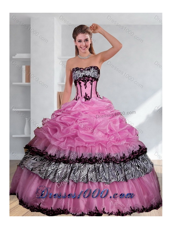 New Style Zebra Printed Multi Color Quinceanera Dress with Pick Ups and Appliques