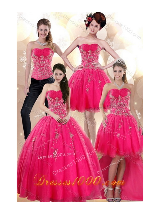 2015 New Style Elegant Strapless Hot Pink Dresses for Quince with Appliques
