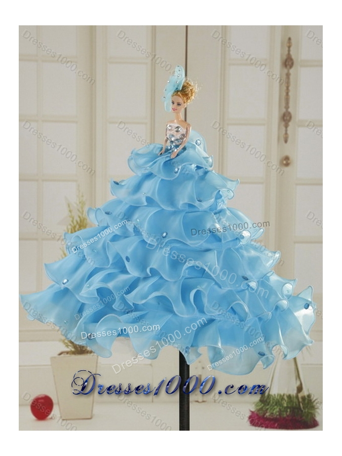 2015 New Style Leopard Printed Baby Blue Brush Train Beading Quinceanera Dress