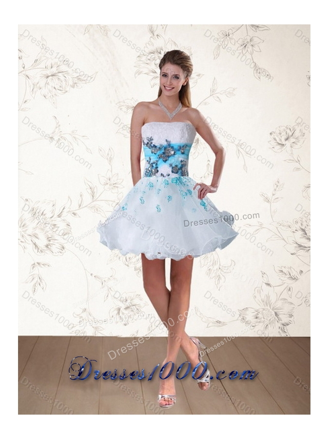 2015 New Style Strapless Multi Color Quinceanera Dress with Appliques and Beading