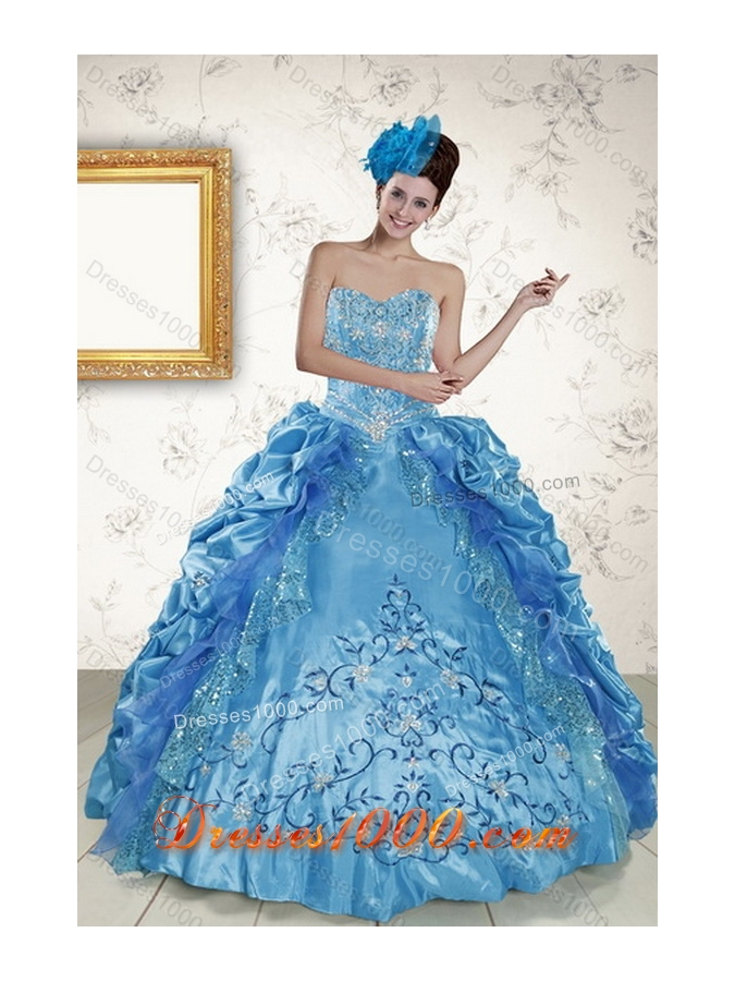 2015 New Style Sweetheart Teal Quince Gown with Embroidery and Pick Ups