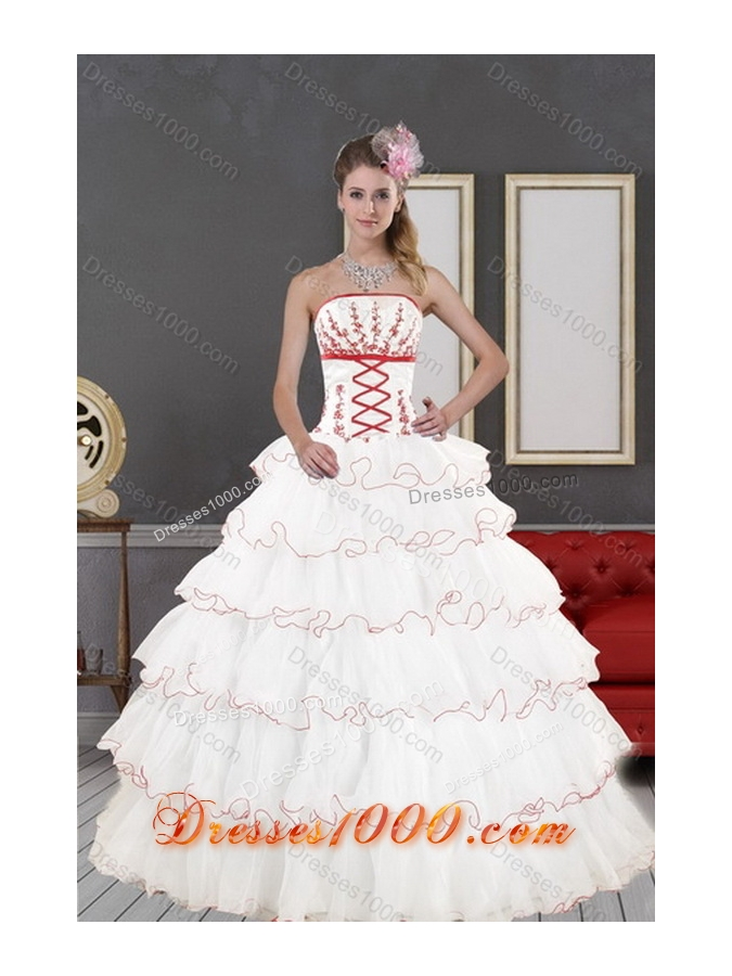 New Style Lovely White Quince Dresses with Appliques and Ruffled Layers for 2015