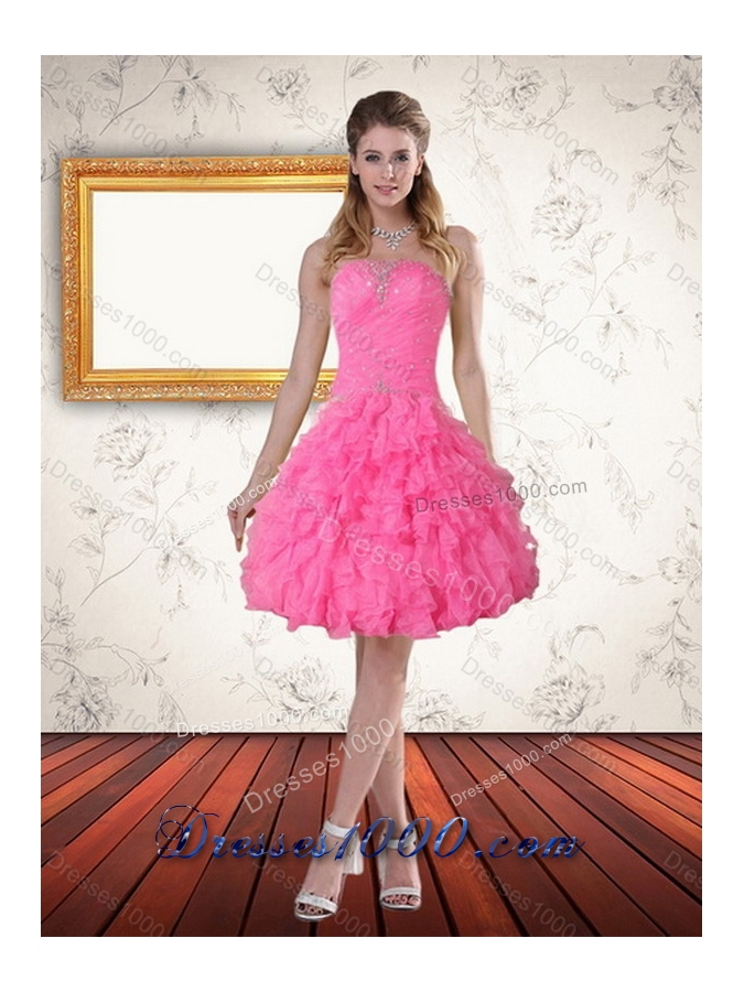 2015 Detachable Strapless Sweet Sixteen  Dress with Beading and Ruffles