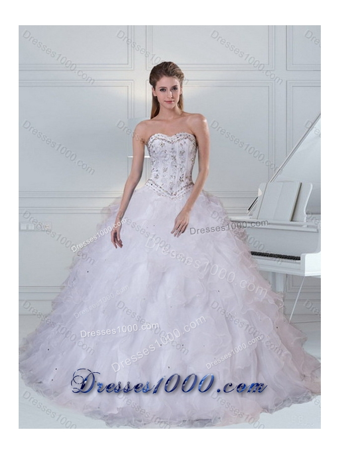 2015 Sweetheart White Sweet Sixteen Dress with Ruffles and Beading