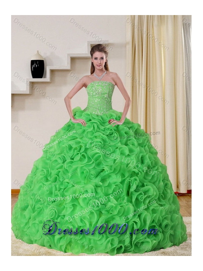Cheap Strapless Spring Green Sweet Sixteen Dress with Beading and Ruffles