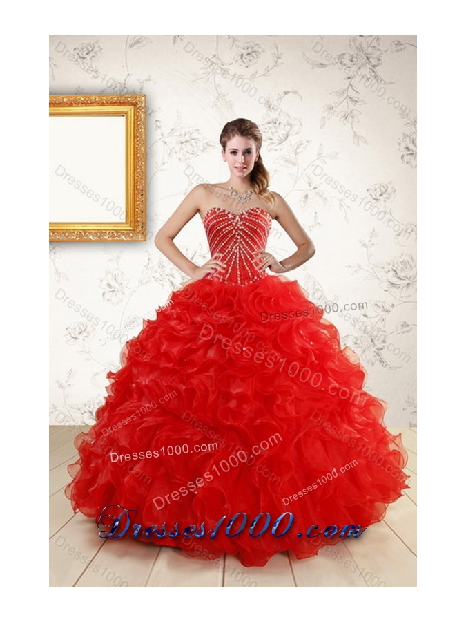 2015 Fashionable New Style Sweet Sixteen Dresses With Beading and Ruffles