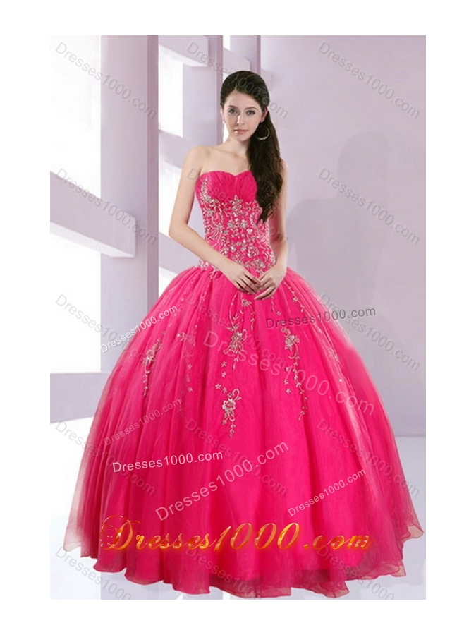 2015 Fshionable Strapless Hot Pink Sweet Sixteen Dresses with Appliques