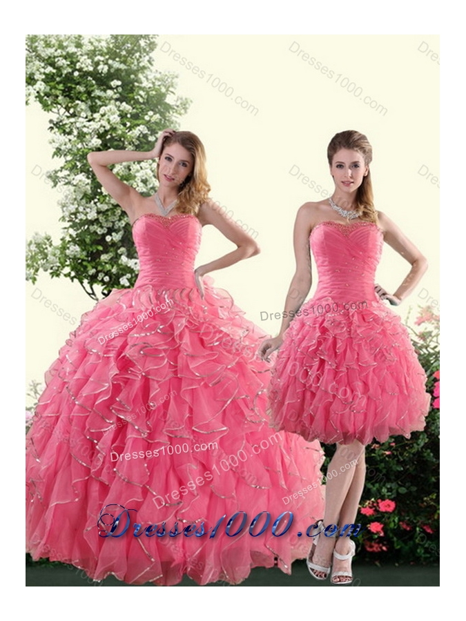 Beautiful Strapless Paillette Sweet Sixteen Dresses in Rose Pink for 2015
