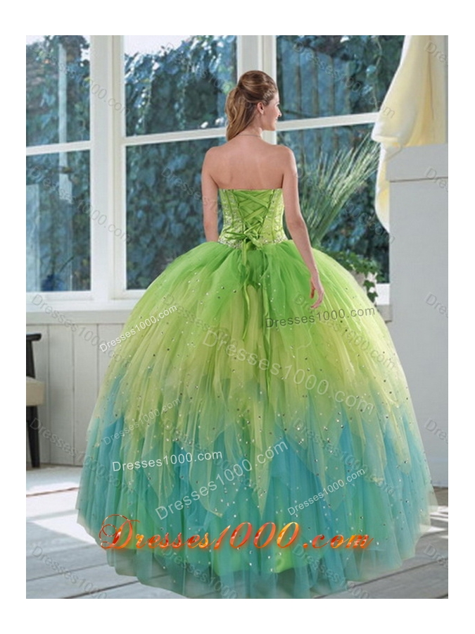 The Most Popular 2015 Appliques and Ruffles Sweet 16 Dress