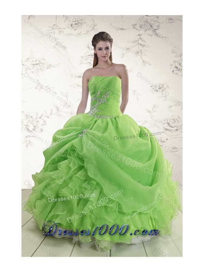 Unique and Detachable Brand New Spring Green Strapless Sweet 15 Dresses with Ruffles and Beading