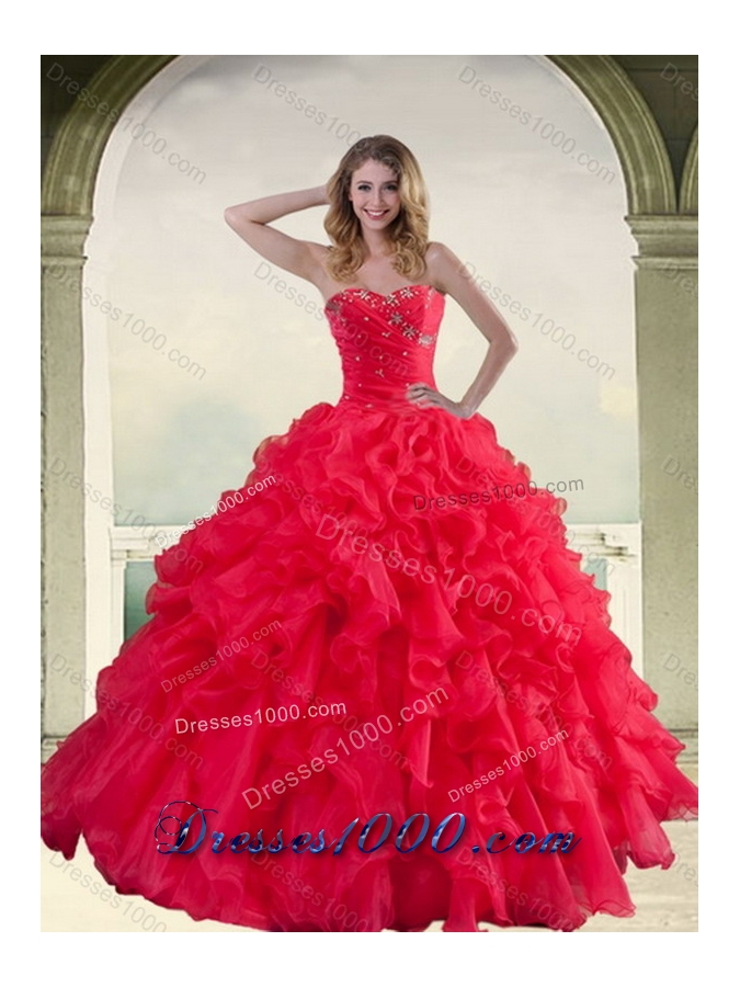 2015 Red Strapless Quinceanera Dress with Ruffles and Beading