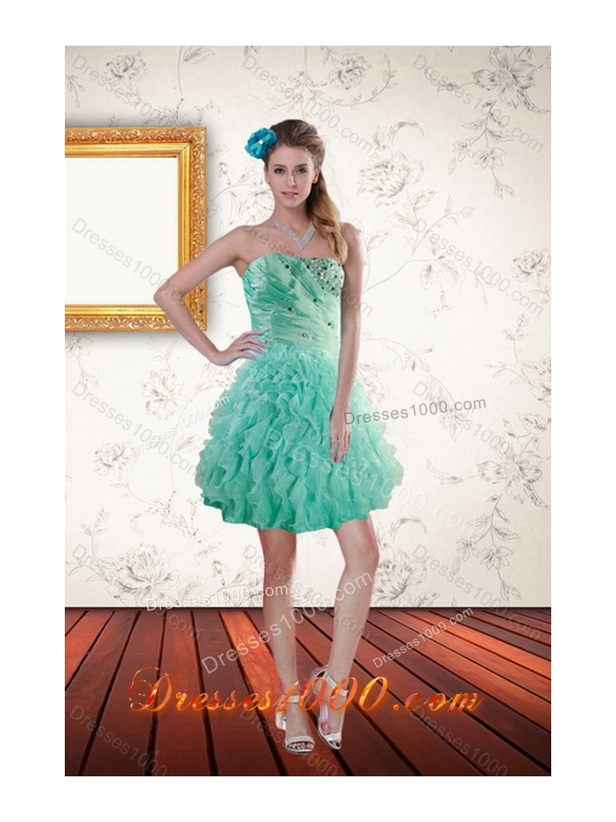 Newest Aqua Blue Quince Dresses with Beading and Ruffles for 2015
