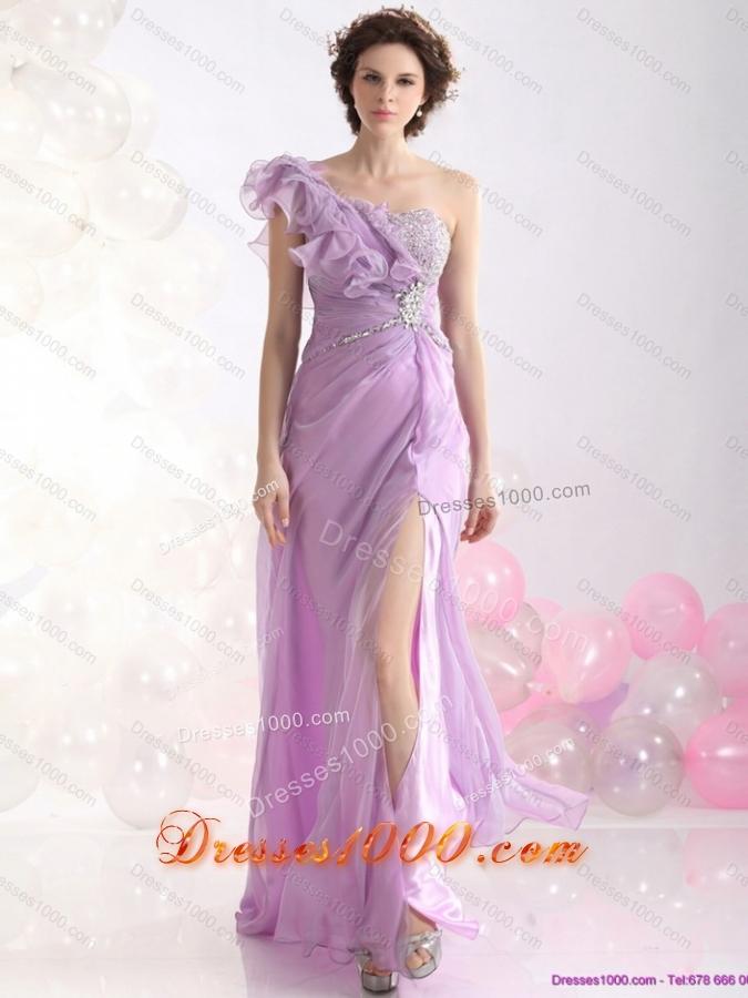 2015 Beautiful Empire One Shoulder Prom Dress with Beading and High Slit