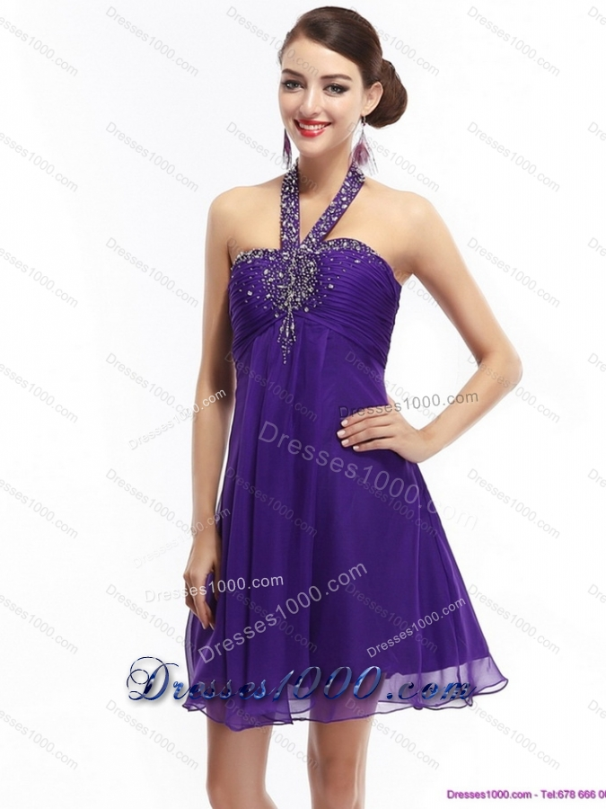 Sexy Purple Beading Halter Top 2015 Prom Dresses with Ruching