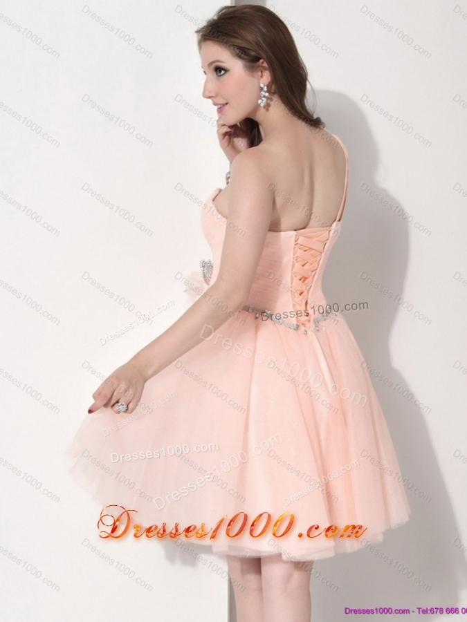 Sexy Mini Length One Shoulder Prom Dresses with Hand Made Flower