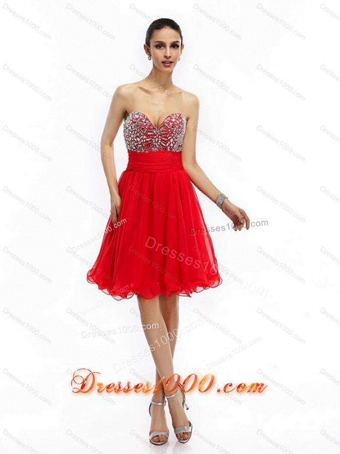 Sexy Sweetheart Short Prom Dresses with Rhinestones and Ruching