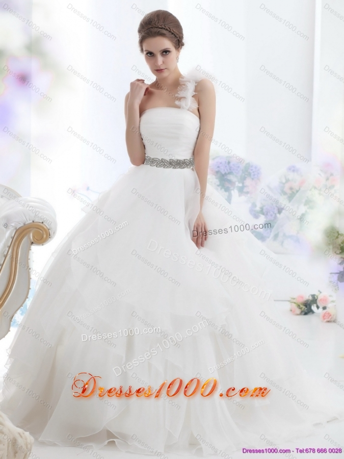 2015 Top Selling One Shoulder Wedding Dress with Appliques