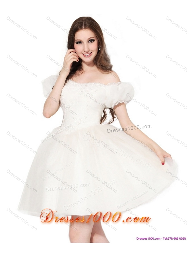 Exquisite 2015 Off the Shoulder Wedding Dress with Ruching and Appliques