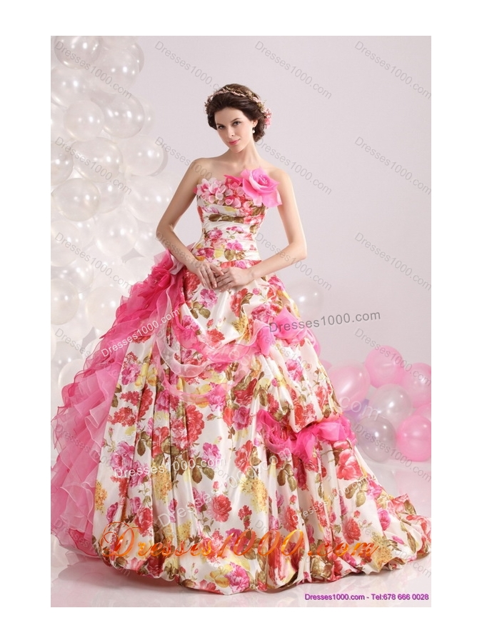 Ruffles Multi Color Bridal Gown with Brush Train and Hand Made Flowers