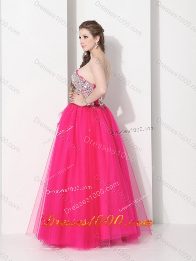 2015 Gorgeous Hot Pink Sweet Sixteen Dresses with Rhinestones