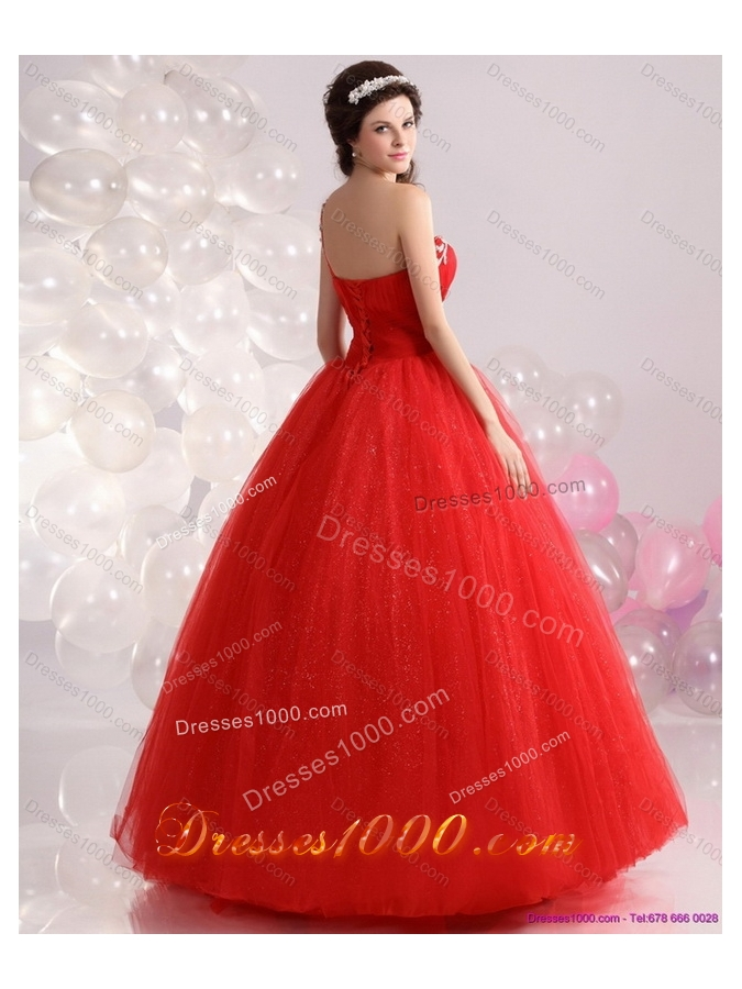 2015 Perfect Red One Shoulder Sweet 15 Dresses with Rhinestones
