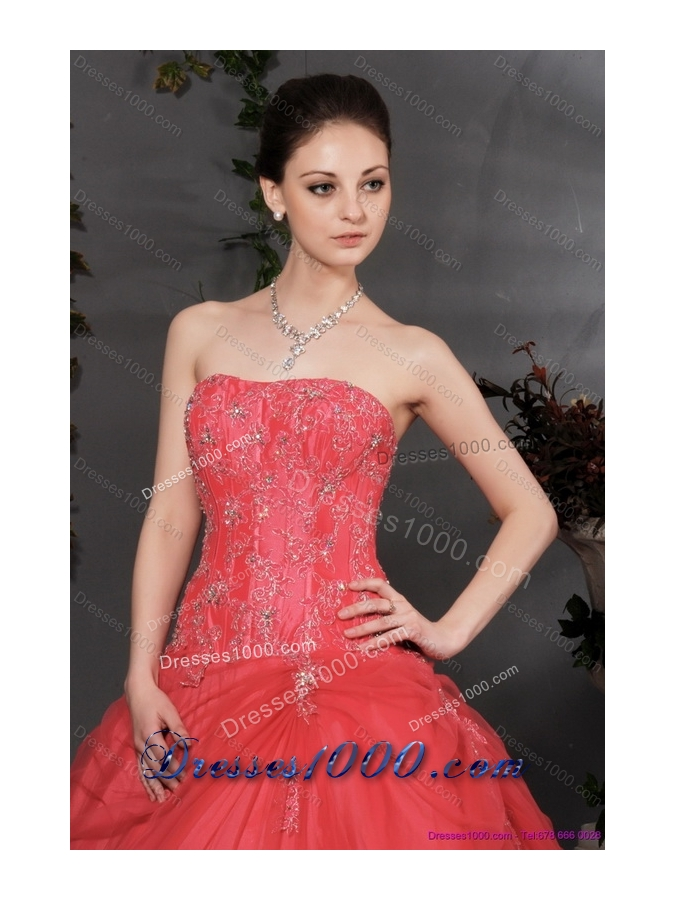 Coral Red Strapless Sweet 16 Dress with Ruching and Appliques
