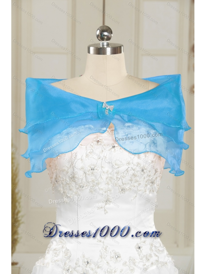 2015 Sweetheart Baby Blue Detachable Prom Skirts with Appliques and Ruffles