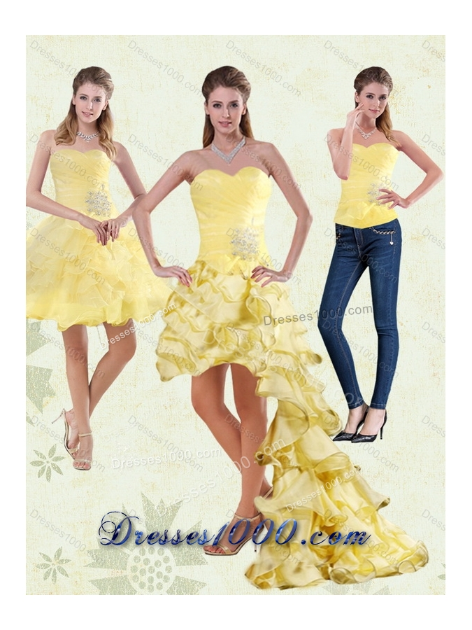 2015 Yellow Sweetheart Detachable Prom Dress with Beading and Ruffled Layers