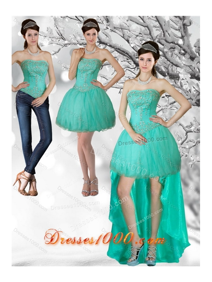 Apple Green Strapess High Low Detachable Prom Skirts with Beading