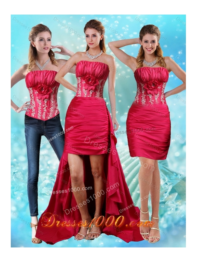 Strapless Embroidery Red Detachable Prom Skirts with Hand Made Flower and Embroidery