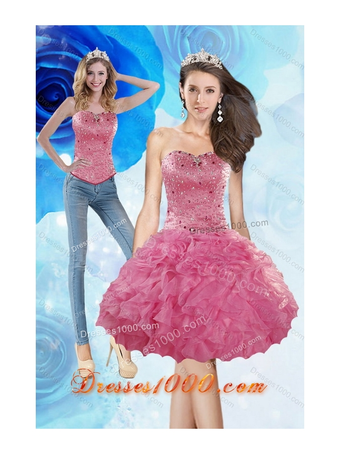 2015 Sophisticated Knee Length Prom Dress with Beading and Ruffles