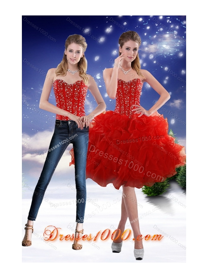 2015 Sweetheart Red Detachable Prom Skirts with Beading and Ruffles