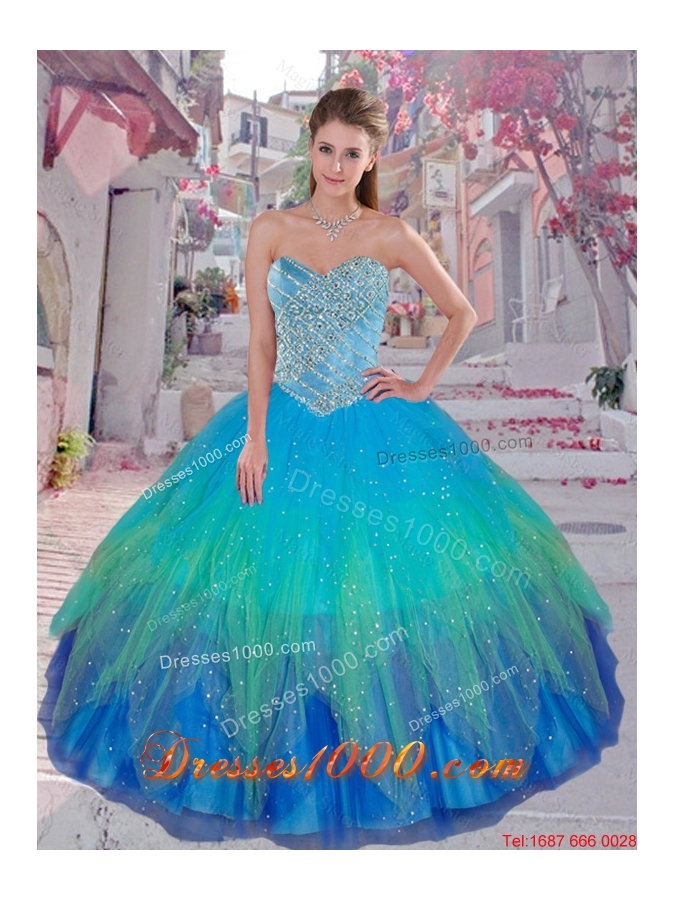 2016 Cheap Multi Color Sweetheart Sweet 16 Dresses with Beading