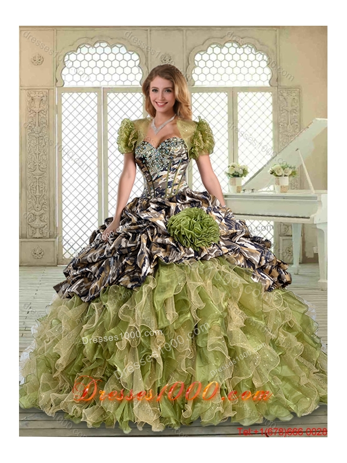 Perfect Camo Quinceanera Dresses with Pick Ups and Hand Made Flowers