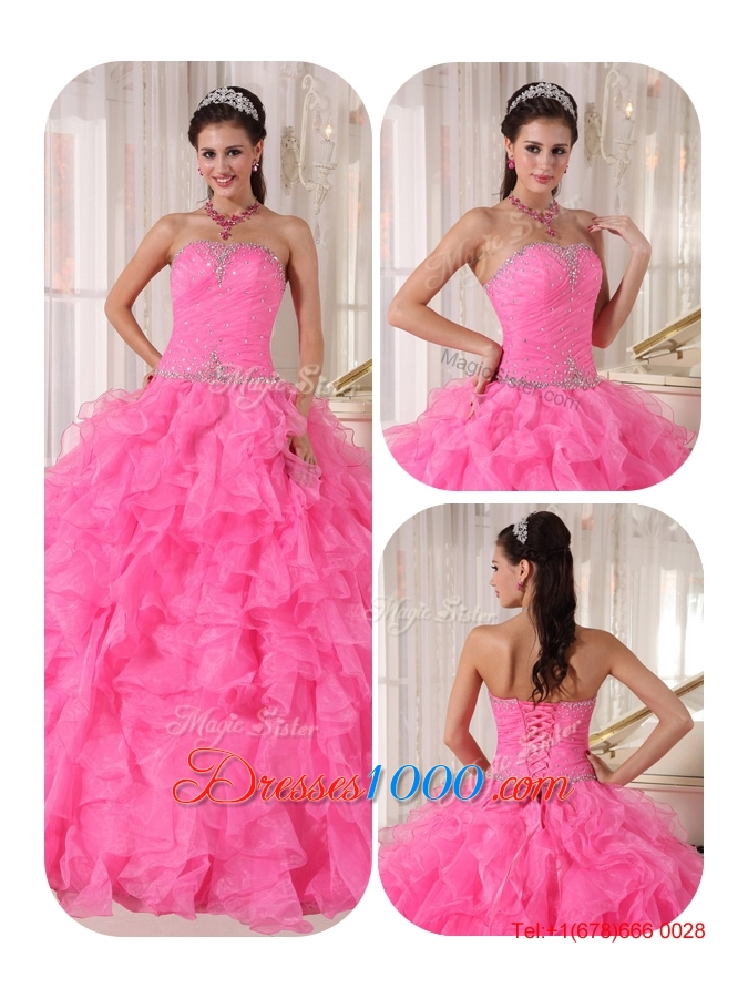 2016 Spring Exclusive Ball Gown Strapless Sweet 16 Gowns with Beading