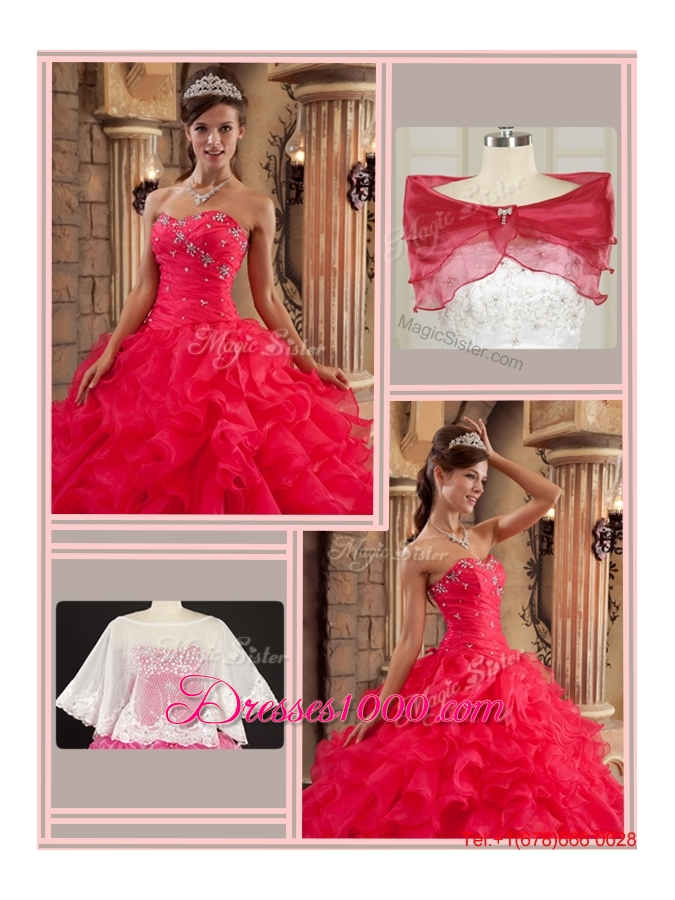 Fall Fashionable Red Sweetheart Quinceanera Gowns with Ruffles