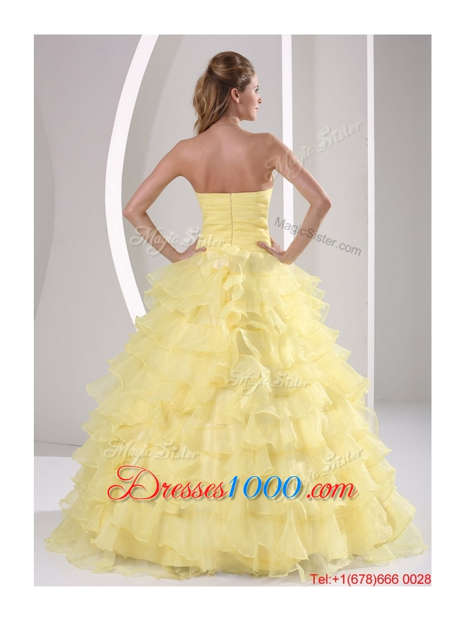 Most Popular Appliques and Ruffled Layers Quinceaners Gowns