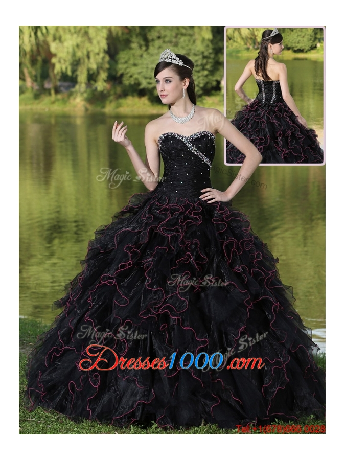 Fashionable Ruffles Layered and Beading Quinceanera Gowns in Black