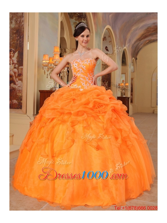 New Arrivals Appliques Sweetheart Quinceanera Dresses in Orange Red